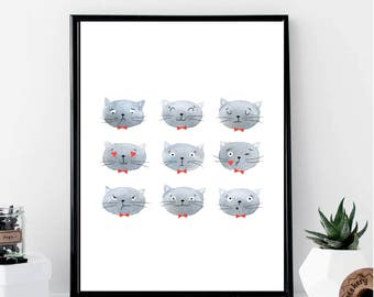 Emoji Cats Print // Minimalist // Wall Art // Office DIY // Scandinavian // Modern Office // Fashion Poster // Watercolor // Emoticon