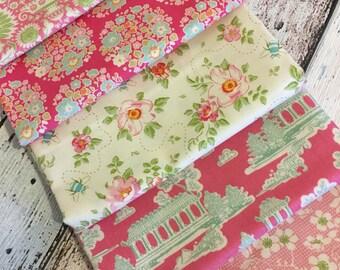 "Tilda NEW Bumblebee ""Pink"" 5 x fat quarter bundle 100% cotton fabric"