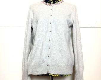 VTG 80s Pastel Cashmere Granny Cardigan with Beaded Collar