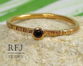 Textured Lab Black Diamond 14K Golden Ring, Rose Gold Plated April Birthstone Ring, Black 2mm Cubic Zirconia Stacking Rose Gold Plated Ring