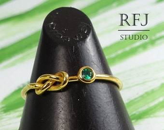 24K Gold Plated Lab Emerald Infinity Knot Ring, May Birthstone Green 2 mm CZ Double Knot Yellow Gold  Ring Love Promise Eternal Ring