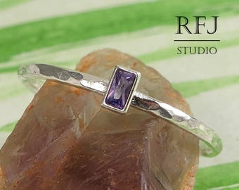 Baguette Lab Amethyst Hammered Silver Ring, Rectangle February Birthstone Baguette Purple CZ Promise Gift Ring 3x1.5 mm Baguette Cut Ring