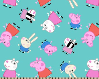"IN STOCK - Cartoon Fabric, Peppa Pig Fabric: Nick Jr. Peppa Pig and friends 100% cotton Fabric by the Yard 36""x43"" (SC378)"