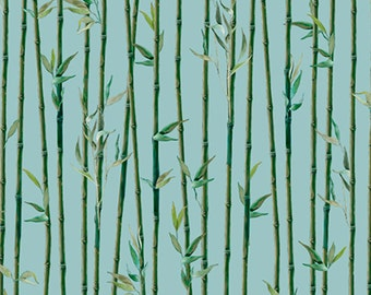 "Bamboo Fabric:   IMPERIAL PANDA Bamboo Stripe Light Teal by Quilting Treasures  100% cotton Fabric by the yard 36""x43"" (N626)"