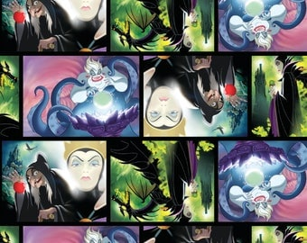 IN STOCK New Disney Female Villains Movie Art - Ursula, Evil Queen, Maleficent  100% cotton fabric by the yard (SC375)