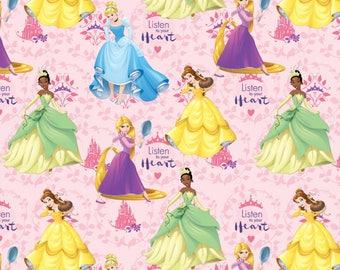In stock NEW Disney Princess Fabric: Disney Princess Listen to your heart- Rapunzel,Cinderella,Tiana,Belle 100% cotton fabric (SC387)