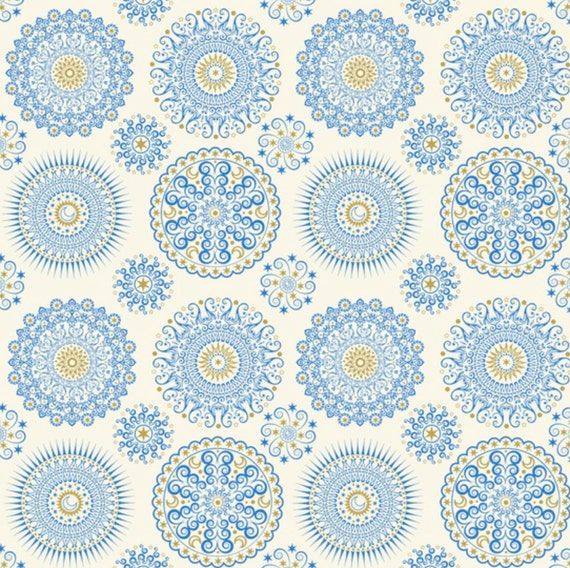 Geometric fabric celestial sol mandalas on cream by for Celestial fabric by the yard