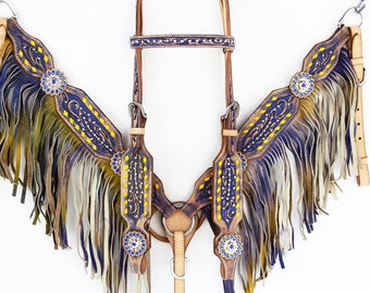 Vintage Styled Purple & Yellow Buck Stitched Fringe Leather Headstall Western Horse Bridle Breast Collar Plate Bling Tack Set