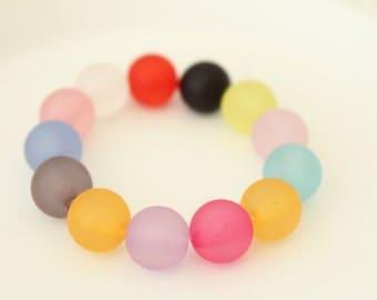 Fun Colorful Frosted Rainbow Bracelet - Baby Photo Prop Bracelet Jewlery - Girls Bead Bracelet - Kids Fun Jewelry Bracelet