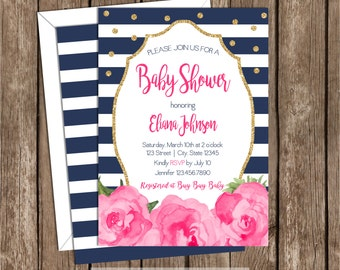 Navy Blue Baby Shower Invitation, Navy Blue and Gold, Floral, Pink, Navy Blue, Gold Glitter, Gender Neutral, Baby Shower, Invite, 070