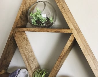 "the ""HUF"" shelf, Large Triangle Wall Shelf, Wood Wall Shelf, Triangle Wall Shelf, Crystal Display Shelf, Geometric Shelf, Crystal Display"