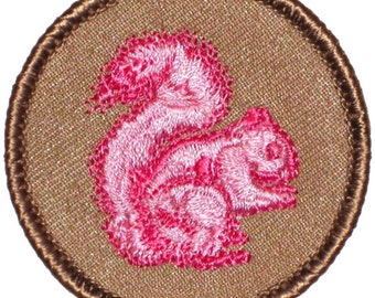 Pink Squirrel Patch (212A) 2 Inch Diameter Embroidered Patch