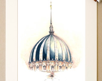 Watercolor Nantes - The Dome of Notre-Dame-de-Bon-Port - signed reproduction and appear