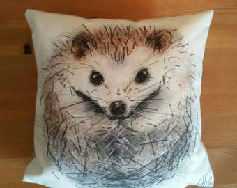 Hedgehog cushion // hedgehog gifts // hedgehog pillow // faux suede cushion // hedgehog drawing cushion // hedgehog painting cushion