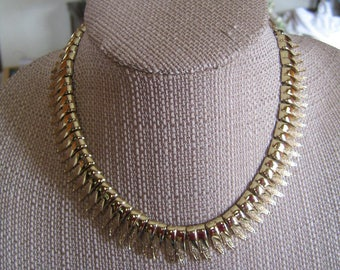 Vintage Coro Gold Tone Feathers Choker Necklace