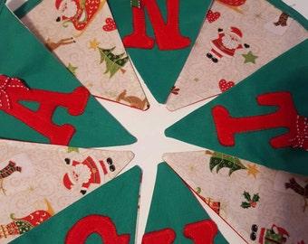 Santa Bunting - handmade bunting - double sided- appliquéd bunting