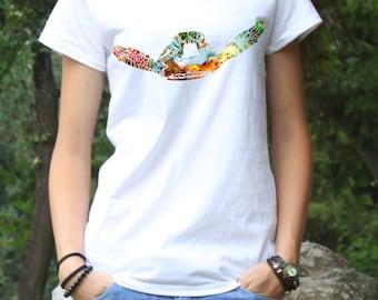 Turtle T-shirt - Art Tee - Fashion Tee - White shirt - Printed shirt - Women's T-shirt
