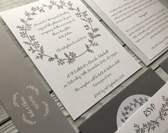 Country Wreath Wedding Invitation Set - Sample Only