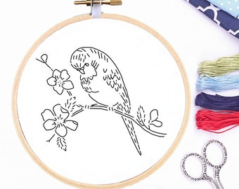 Vintage Hand Embroidery Pattern Reproduction Parakeet on Dogwood Branch Embroidery PDF 1930's Embroidery Pattern Printable