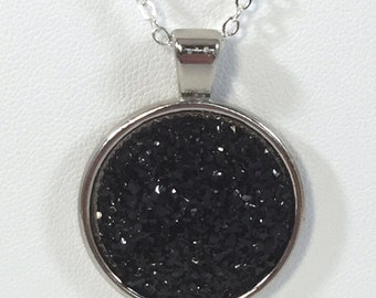 Black Druzy Pendant Necklace - Drusy Necklace  - Prom Necklace - Druzy Statement Necklace - Bridesmaid Gifts - Wedding Jewelry -