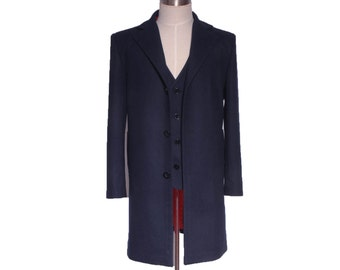 Doctor Who 12th Dr. Dark Blue Frock Coat Vest Cosplay Costumes
