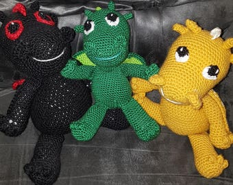 Stuffed Baby Dragon Plushie - Hand Crocheted - Game of Thrones - Drogon - Rhaegal - Viserion - Kids Toy