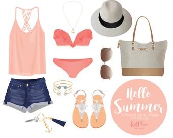 Hello Summer, Fashion Clipart, coral, bikini, shorts, sandals, sunglasses, hat, beach tote