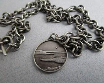 Sterling Silver Link Necklace / Lake Pepin on the Mississippi / Designer Necklace