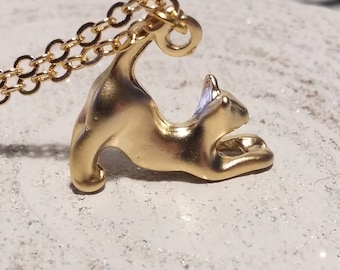 Cat charm necklace, gold plated, cat jewellery