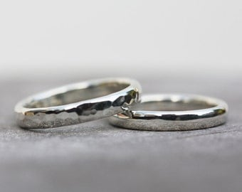 Wedding ring set, wedding band, unique wedding rings, alternative wedding rings, sterling silver wedding rings // nicolevjewelry