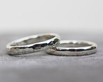 Wedding ring set, wedding band, unique wedding rings, alternative wedding rings, sterling silver wedding rings // nicolevjewelry