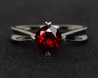 red garnet ring natural red gemstone ring round cut silver engagement ring anniversary gift January birthstone ring