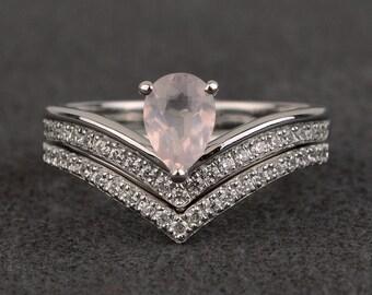 rings set pink quartz wedding engagement ring set women pear cut gemstone ring silver