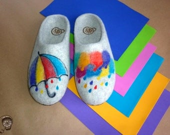 Watercolor Womens Felted Sole Slippers Valentine's Day Guest Sheepskin Funny Gift Men Shoe Rainbow Aquarelle Home Painting Daughter Clogs