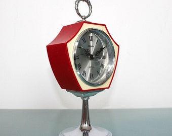 RHYTHM 51128 Pedestal Alarm Mid Century Clock Space Age RETRO TOP!!! Desk/Mantle