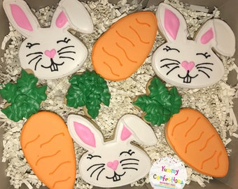 Easter Funny Bunny Carrot Cookies - 1 Dozen (12 Cookies)