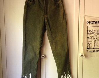hand panted high waisted flame jeans