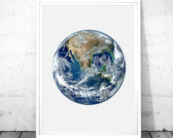 Earth Print, Planet Prints, Earth Photography, Earth Wall Art, Instant Download, Earth Printable Art, Space Print, Space Art, Earth Poster