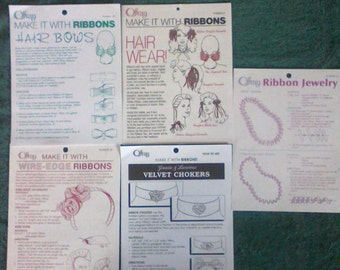 5 Make it With Ribbon How To Pamphlets Hair Wear and Jewelry