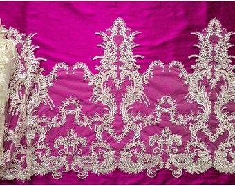 IVORY LARGE elegant lace Trim with sequins, Alencon Lace Trim, Bridal Lace, Chantilly Lace, Embroidery, (TRHC-40461)