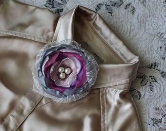 flower pin, flower brooch, satin flower, textile flower, handmade flower, beautiful flower, violet flower, brooch, purple pin, original pin