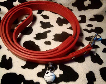 Red faux leather vegan leash