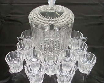 Crystal Punch Bowl & 11 Cups