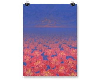 "Red Flower Painting, Wall Art, Poster Print, 12x16"", 18x24"""