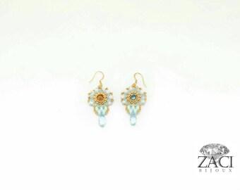 Orecchini Azzurri/Orecchini di perline/Orecchini glamour /Orecchini shine  / Orecchini oro/orecchini con cristalli/ orecchini ricordi primor