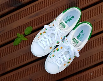 Pineapple Stan Smith Custom painted shoes baskets Green, Orange/Yellow, Original Christmas Gift, Men, Women, boyfriend gift, girlfriend gift