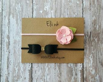 Baby headband set, flower headband, bow headband, black bow headband, baby bow headband, baby flower headband, felt headband set