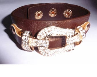 Brown Faux Leather Cuff Bracelet Rhinestone buckle