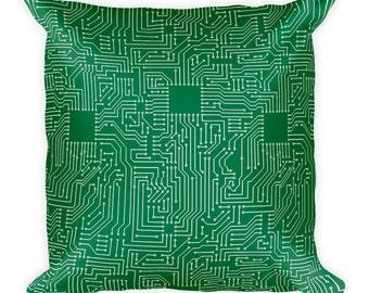 Circuitry Spun Polyester Throw Pillow