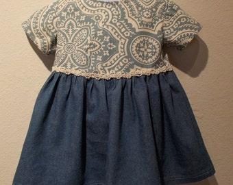 Blue White Floral Pearl Lace Trim and Denim Infant Dress